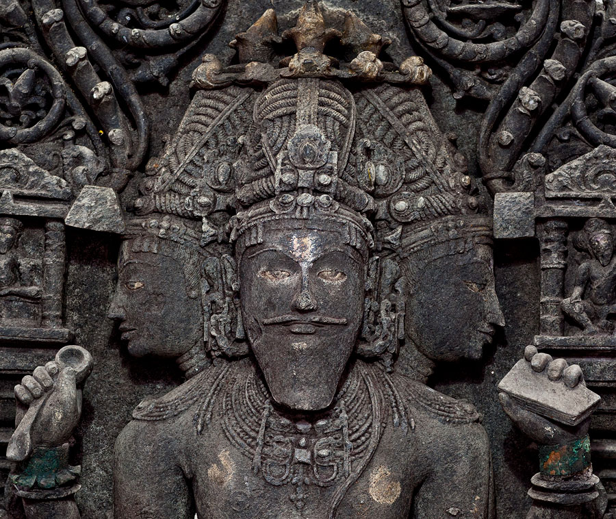 Detail of the Brahma sculpture in Carambolim, Goa