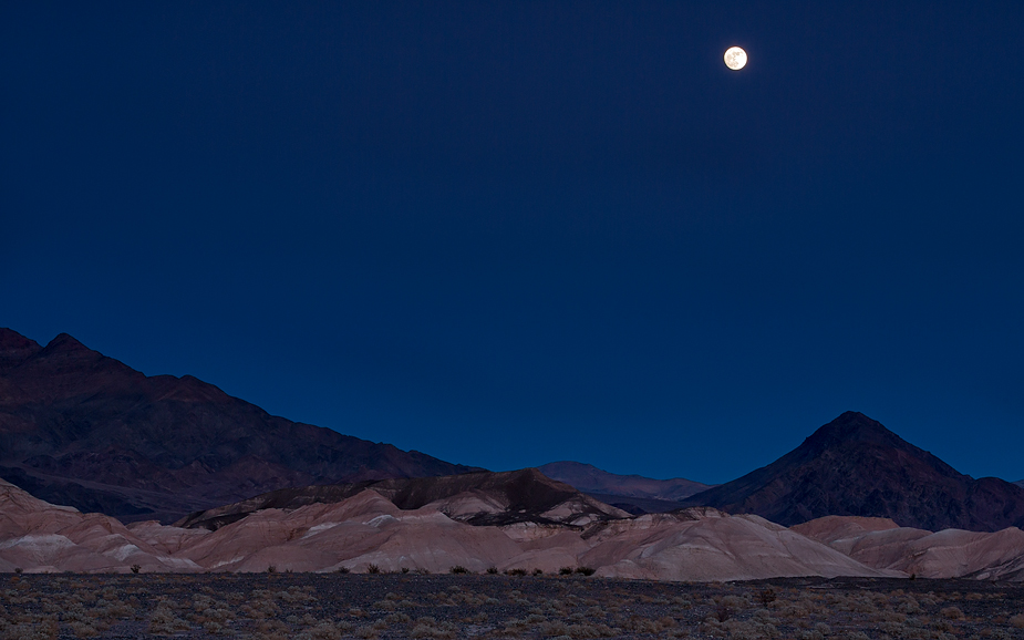 Moon over Grapevine Mountains and Kit Fox Hills, Death Valley