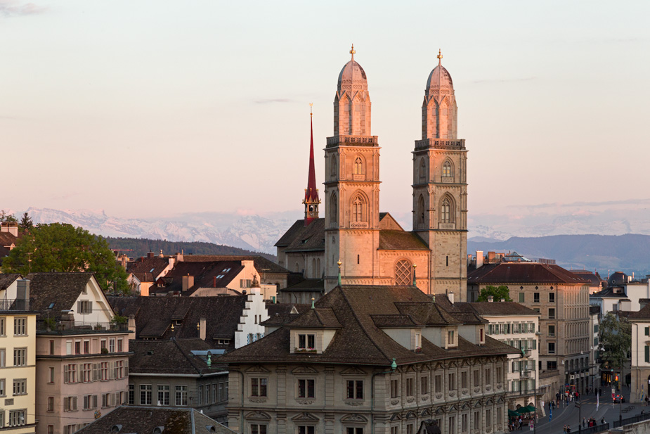 Grossmünster in Zurich, near sunset
