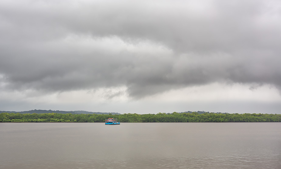 Rainstorm brewing over River Mandovi, Goa
