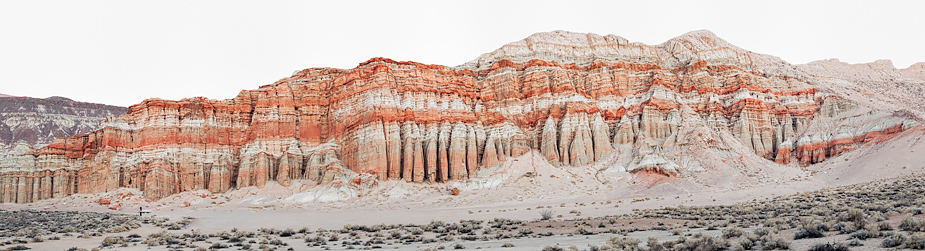 Red Rocks Canyon (Red Cliffs), Mojave Desert, early morning, Panorama