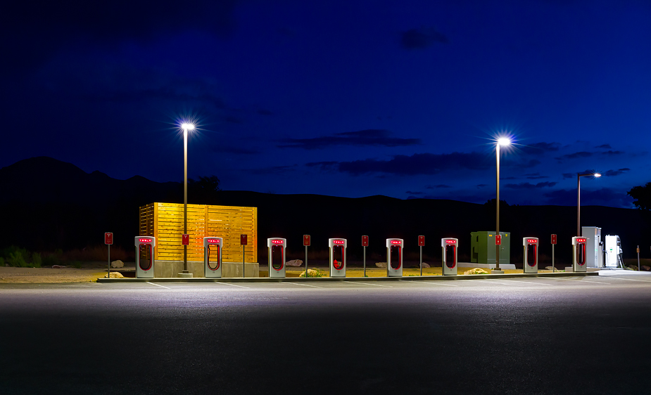 Tesla charging station in Beatty, Nevada