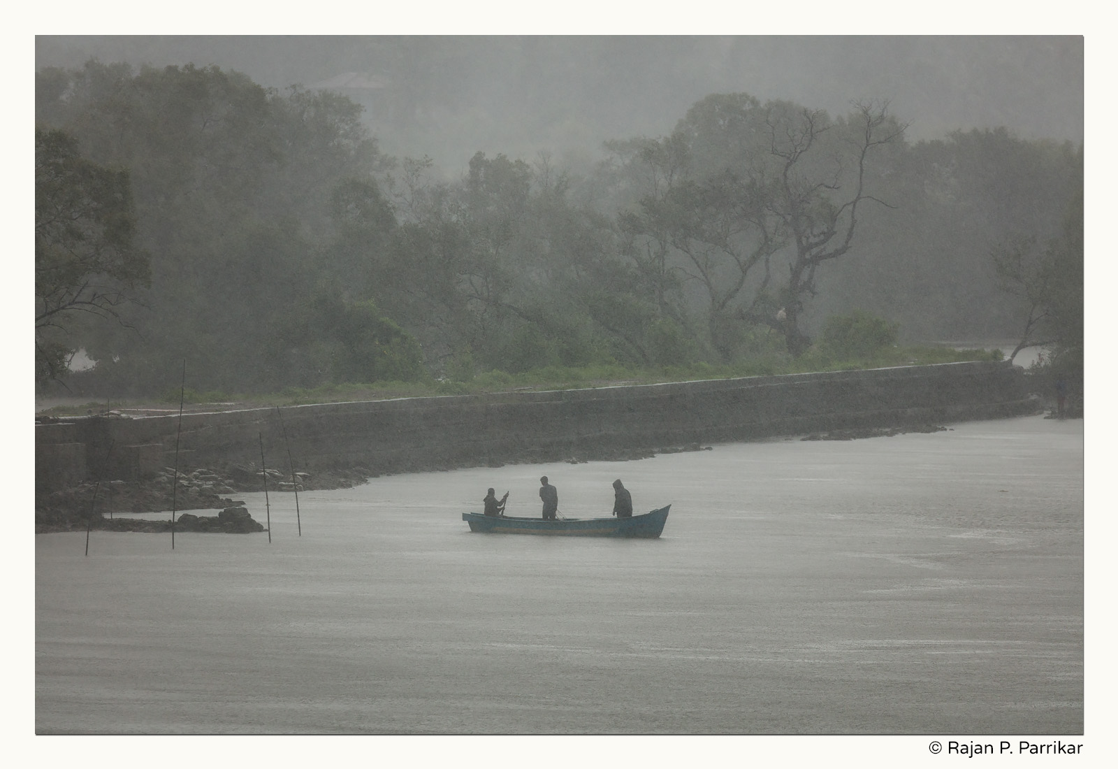 Rainstorm on the Nerul river, Goa