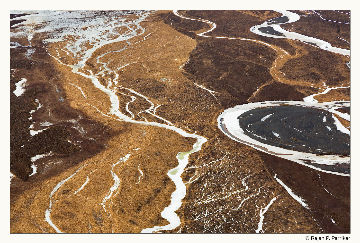 Patterns of Héraðssandur from the air, Iceland