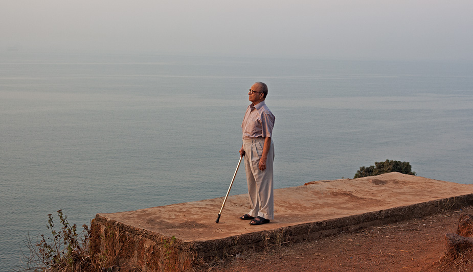 My father Motilal Parrikar on the Aguada cliff at sunrise