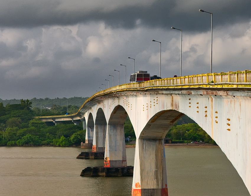 Monsoon clouds over Zuari bridge