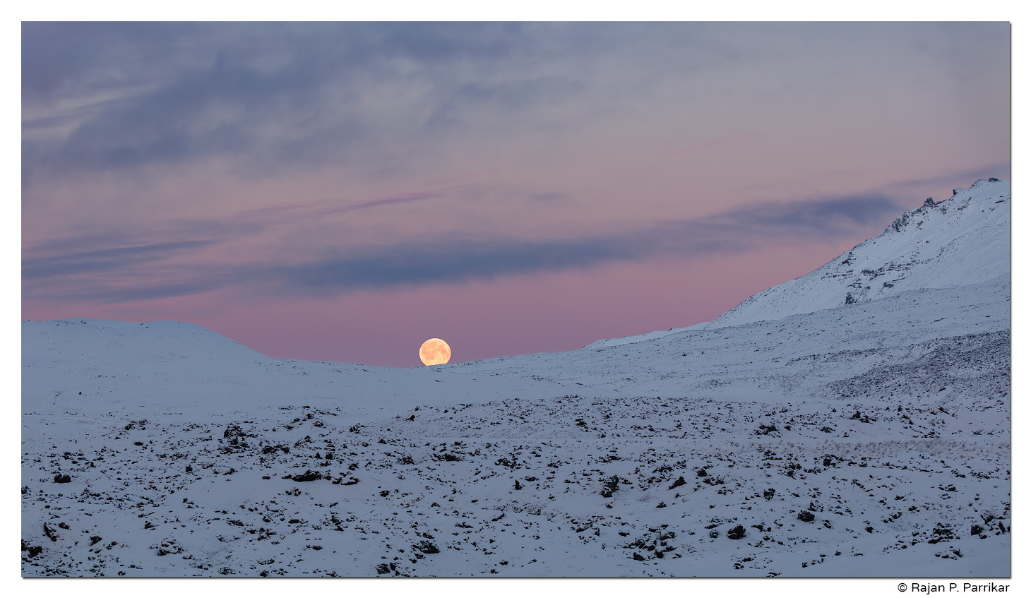 Setting moon in Snæfellsness, Iceland