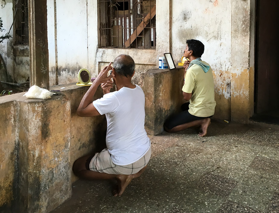 Shaving session in Panjim, Goa