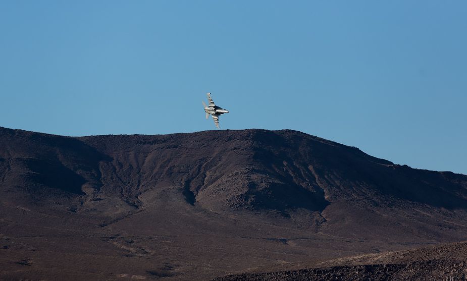 US Air Force fighter jet in Rainbow Canyon (from Father Crowley Point)