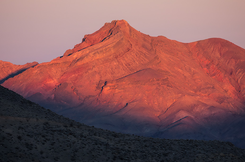 First light on Corkscrew Peak, Chloride Cliff, Death Valley