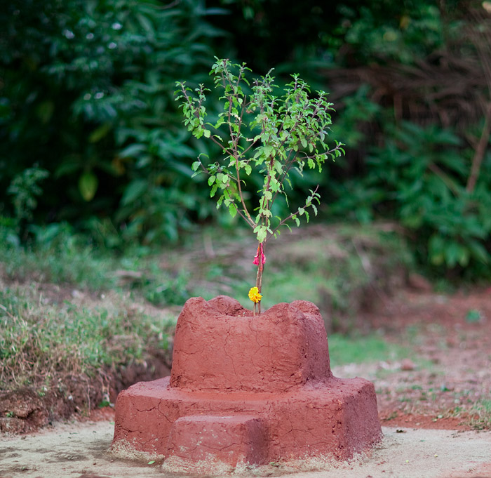 Traditional Tulsi fashioned from clay in Tikhazana, Goa<br>5D Mark II, 85L II