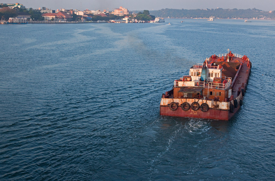 Barge, River Mandovi, and the city of Panjim