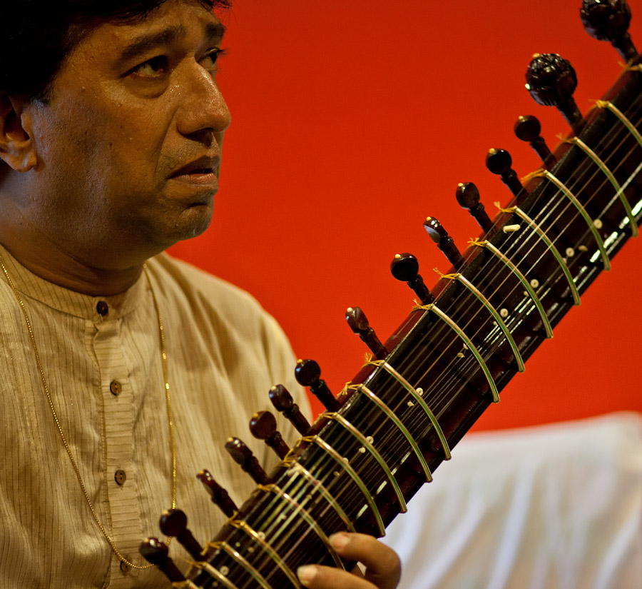 The ustad in his music room at Kala Academy in Panjim