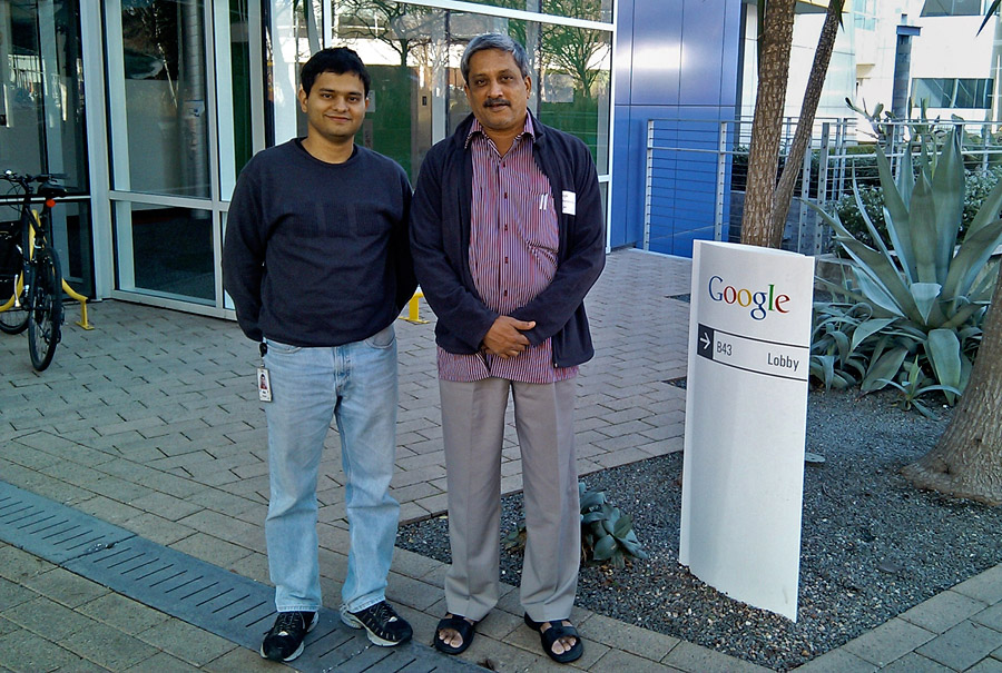 Manohar Parrikar with Dr. Ajay Nerurkar at Google headquarters in Mountain View, California