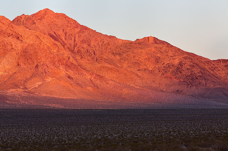 Bare Mountain near Beatty, Nevada, at sunset