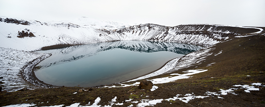 Panorama of Víti crater at Krafla, first dusting of snow, Iceland