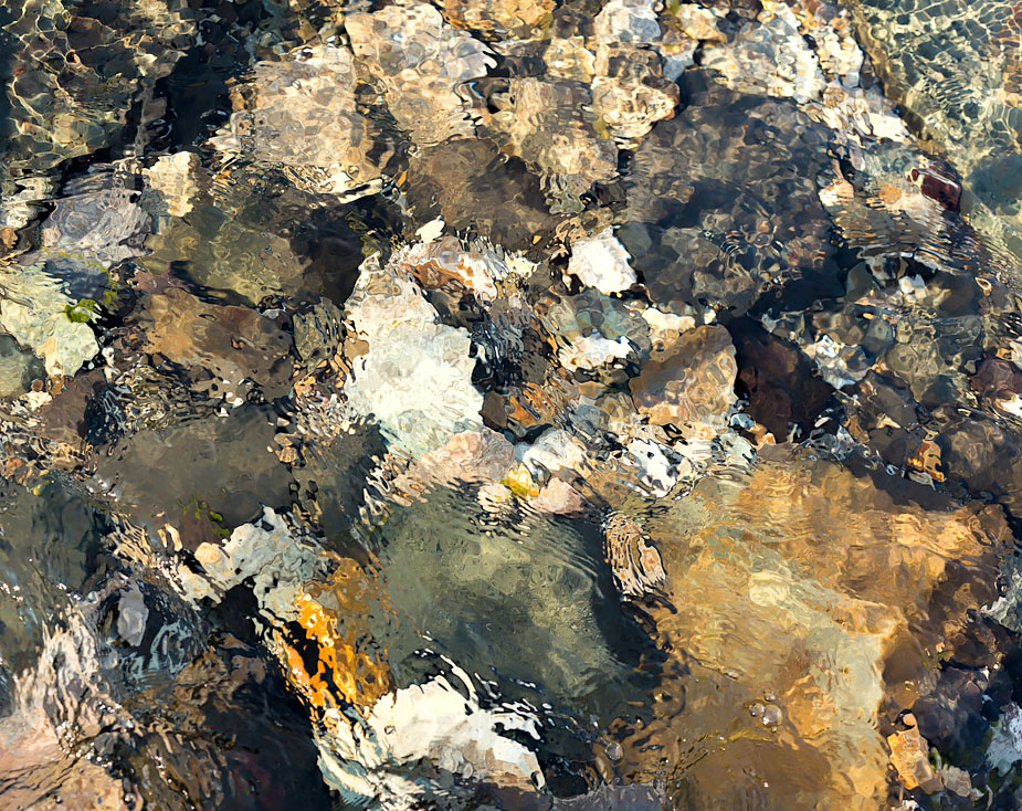 Patterns in water at Innra-Hvannagil, Iceland