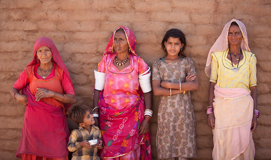 Women of the Meghwal caste at Khetolai, Rajasthan