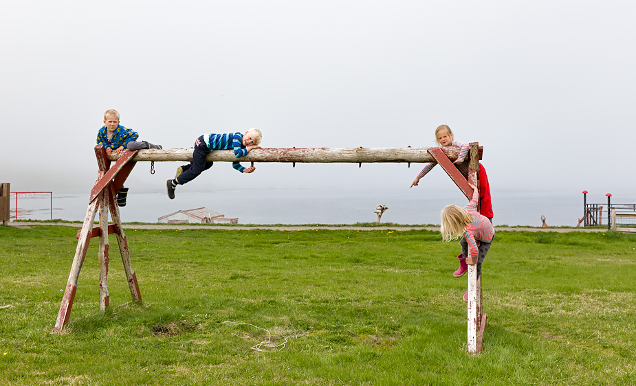 Kids playing in Trékyllisvík, Iceland