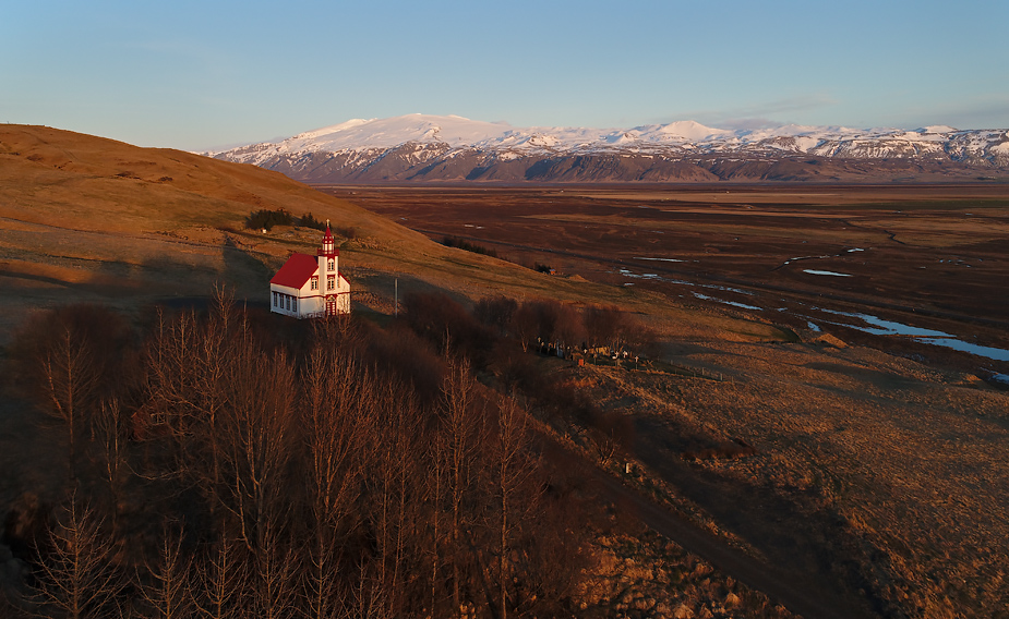 Hlíðarendi Church, late evening, Iceland