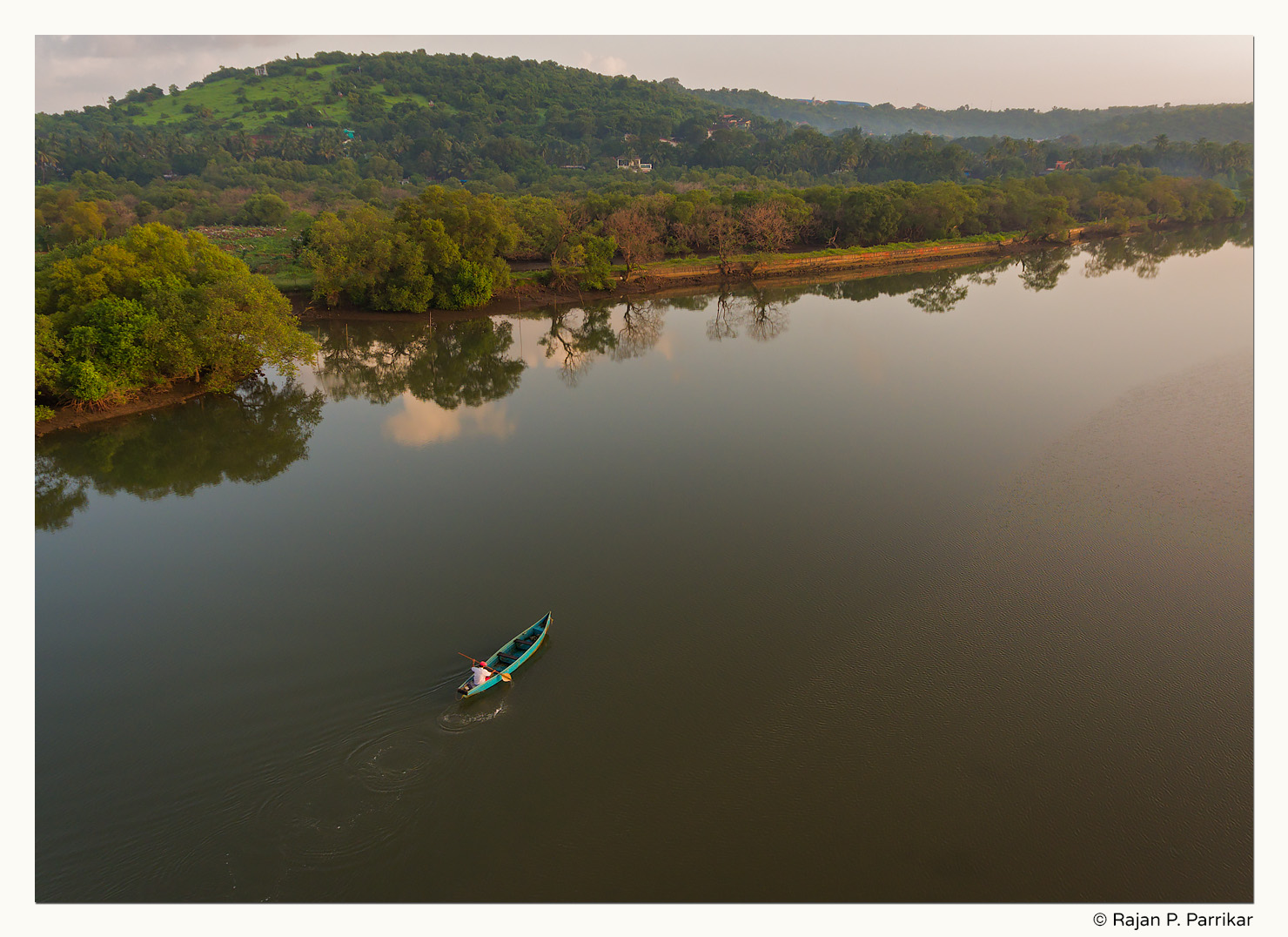 Boat in Nerul river, Goa