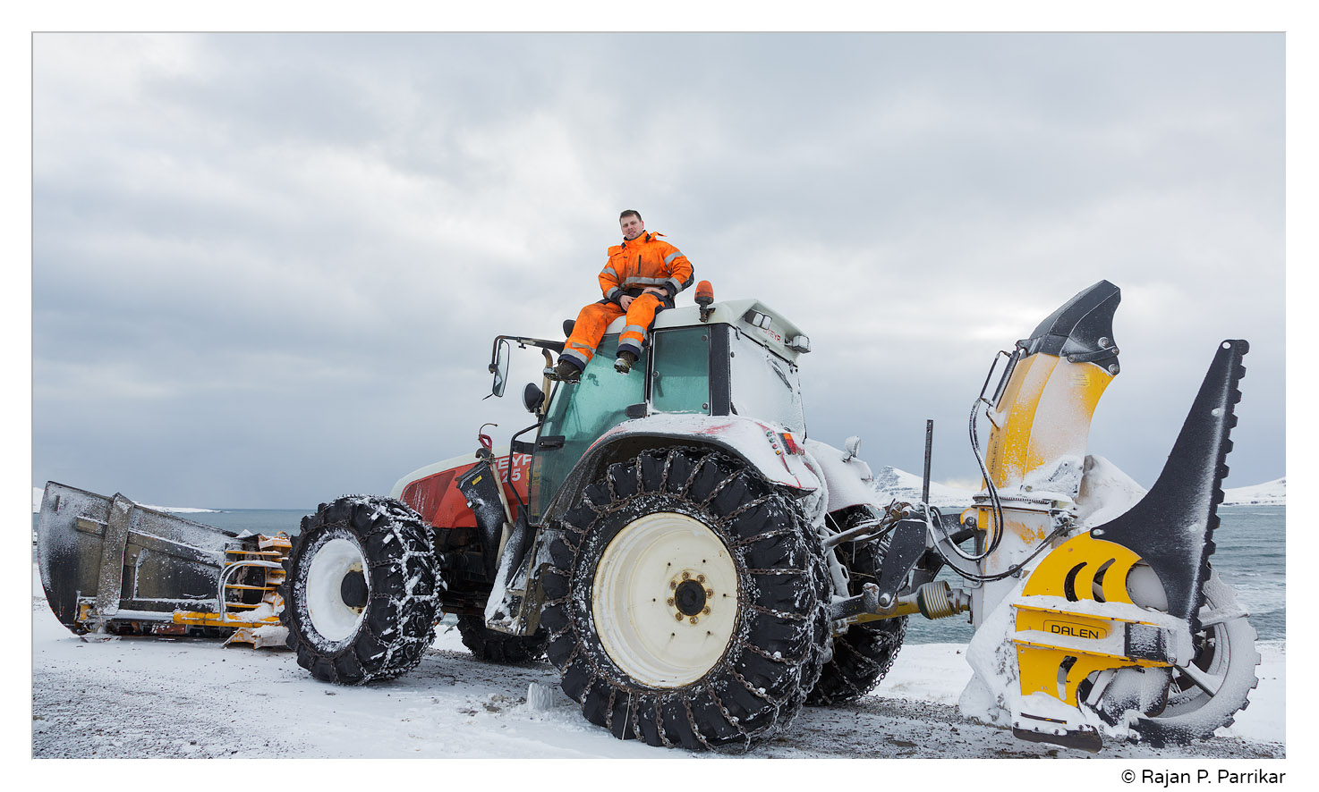Steini Finn and his snow plow tractor, Strandir, Iceland